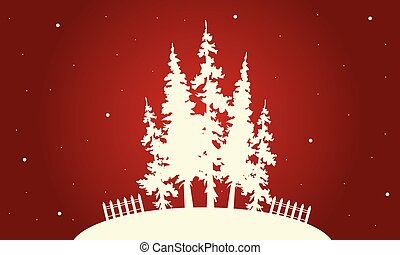 Silhouette of Christmas spruce