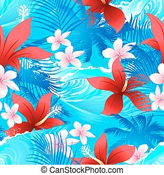 Tropical red hibiscus flowers with surfing wave seamless pattern
