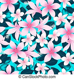 Pink tropical hibiscus flowers with blue leaves seamless pattern