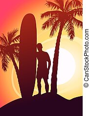 Surfing guy with surfboard and palm trees .