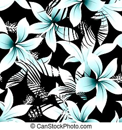 Tropical white frangipani hibiscus with black palms seamless...