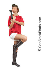 girl with a pistol and garrison cap
