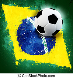 Brazil soccer - Soccer ball on Brazil grunge painted flag