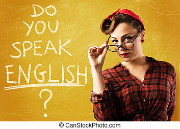Pin-up english teacher - Woman pin-up style with eyeglasses...