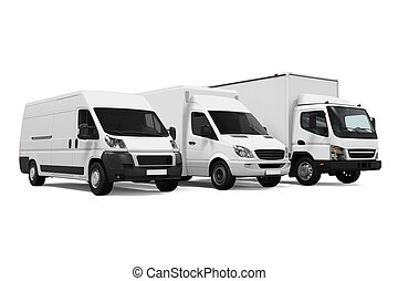 Delivery Vans isolated on white background. 3D render