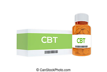 CBT therapeutic concept - 3D illustration of CBT title on...