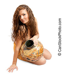 priestess with vintage jug - Fashion type photo of an...