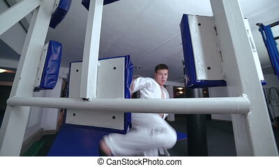 Master of sport training legs with simulator in full HD