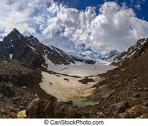Beautiful view of a mountain lake in the glacier area