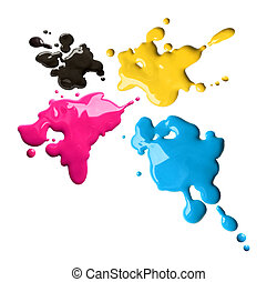 Cmyk color splashes - Splashes of four color printing inks...
