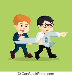 two businessman holding wrench together