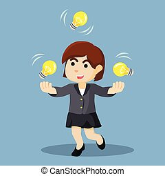 businesswoman juggling with bulb