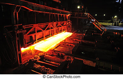 hot slab in steel plant - hot slab on conveyor in steel...