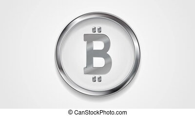 Crypto currency, metal motion icon bitcoin