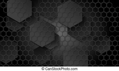 Black geometric video animation with hexagons - Black...