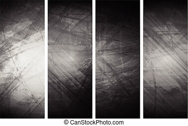 Grey grunge textural banners Abstract vector background,...