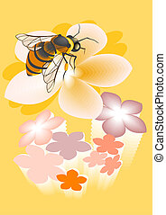 Bee - This is a decorative image of bee on a flower