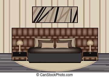 Bedroom Illustration. Elevation Room with Luxury Bed, Side Table and Lamp. Furniture Set for Your Interior Design .
