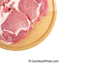 Raw meat steaks on wooden board, isolated on white...