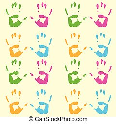 Print of hands pattern - A colorful handprint pattern