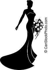 Wedding Dress Bride Silhouette - Bride in silhouette wearing...