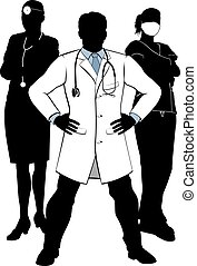 Doctors and Nurses Medical Team Silhouettes - A silhouette...