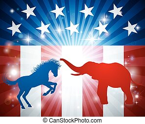 American Election Concept - Blue donkey and red elephant in...