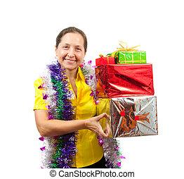 regalos, encima, blanco, mujeres