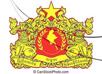 Myanmar Coat of Arms 3D Illustration