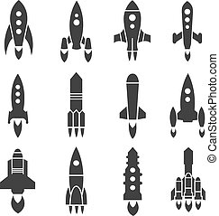 Rocket, spaceship, spacecraft, shuttle launch vector icons