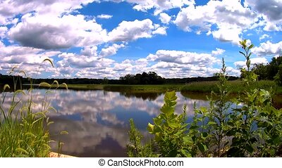 blue sky with clouds, lake. Real time sky lake reflection of...