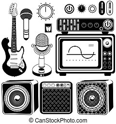 guitars with amplifier collection - Vector illustration of...