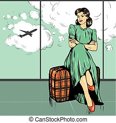 Beautiful woman sit on a bag in airport. Vector illustration...