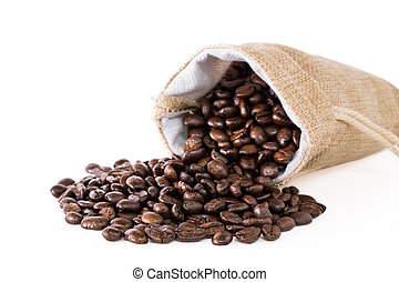 Coffee beans in a sack. - Coffee beans in a sack on a white...