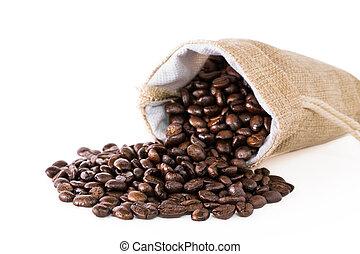 Coffee beans in a sack - Coffee beans in a sack on a white...