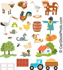 set of farming live animals, birds, objects, farmhouse, tress, scarecrow, pumpkins and tractor. vector illustration