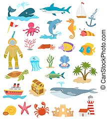 set of sea and ocean animals and fishes, palm trees and sand castle, ships, golden chest, lighthouse. vector illustration