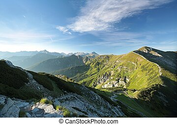 Panorama of Tatra Mountains on a sunny spring morning Poland...