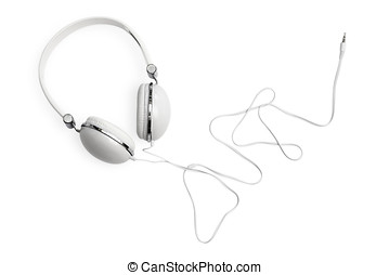 White Headphones Isolated on White - White headphones with...