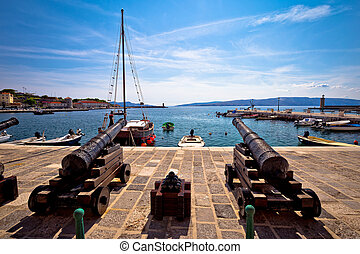 Old cannons in town of Senj waterfront, Croatia