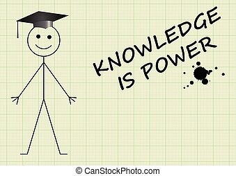 Knowledge is power message on graph paper background with...