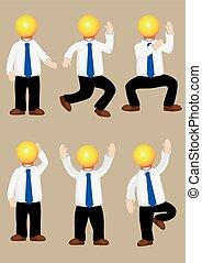 Idea Man Mascot Vector Cartoon Character - Set of vector...