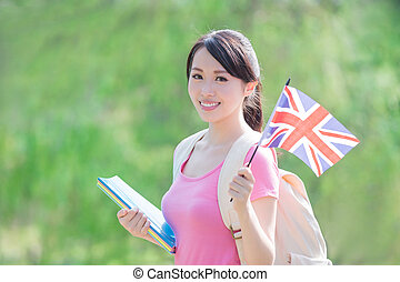 college student hold British flag - happy college student...
