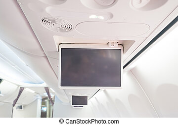 Display screen in the airplane with empty copy space