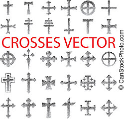 Set of Crosses pencil scribble