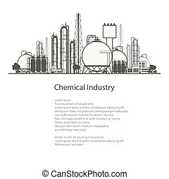 Industrial Chemical Plant Isolated on White Background ,...