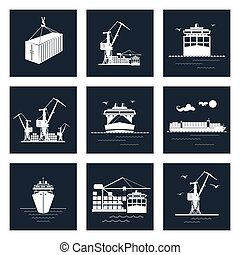 Set of Cargo Icons, Dry Cargo Ship and Container Ship,...