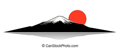 Mount Fuji and the red sun silhouette
