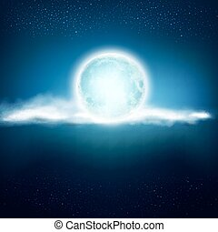 vector background with a full moon and clouds on a dark blue...