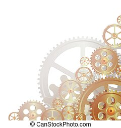 bronze gears on the white background, vector illustration,...